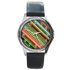 Colorful Stripe Background Round Metal Watch