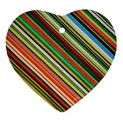 Colorful Stripe Background Ornament (Heart)