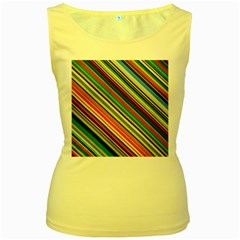 Colorful Stripe Background Women s Yellow Tank Top