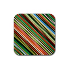 Colorful Stripe Background Rubber Square Coaster (4 pack)
