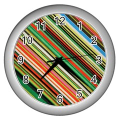 Colorful Stripe Background Wall Clocks (Silver)
