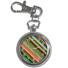 Colorful Stripe Background Key Chain Watches