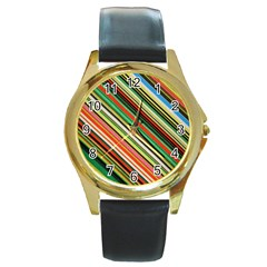 Colorful Stripe Background Round Gold Metal Watch
