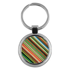 Colorful Stripe Background Key Chains (Round)
