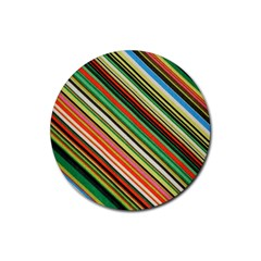 Colorful Stripe Background Rubber Round Coaster (4 Pack)
