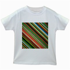 Colorful Stripe Background Kids White T-Shirts