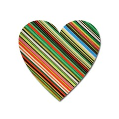Colorful Stripe Background Heart Magnet