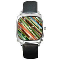 Colorful Stripe Background Square Metal Watch