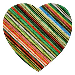 Colorful Stripe Background Jigsaw Puzzle (heart)