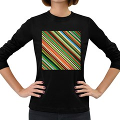 Colorful Stripe Background Women s Long Sleeve Dark T-Shirts