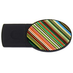 Colorful Stripe Background Usb Flash Drive Oval (4 Gb)