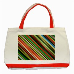 Colorful Stripe Background Classic Tote Bag (red)