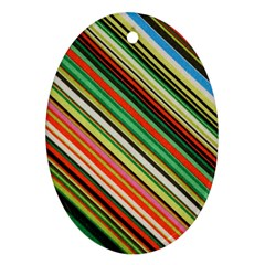 Colorful Stripe Background Oval Ornament (Two Sides)