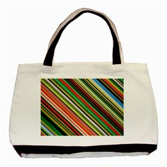 Colorful Stripe Background Basic Tote Bag (two Sides)