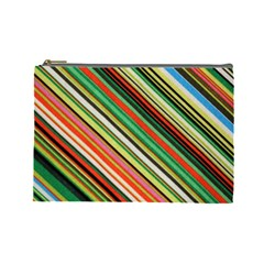 Colorful Stripe Background Cosmetic Bag (large)