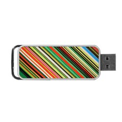 Colorful Stripe Background Portable Usb Flash (one Side)