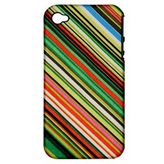 Colorful Stripe Background Apple iPhone 4/4S Hardshell Case (PC+Silicone)