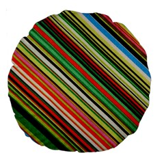 Colorful Stripe Background Large 18  Premium Round Cushions