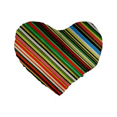 Colorful Stripe Background Standard 16  Premium Heart Shape Cushions