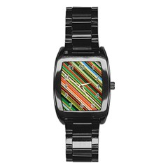 Colorful Stripe Background Stainless Steel Barrel Watch