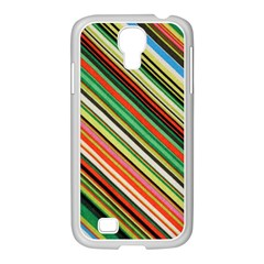 Colorful Stripe Background Samsung GALAXY S4 I9500/ I9505 Case (White)