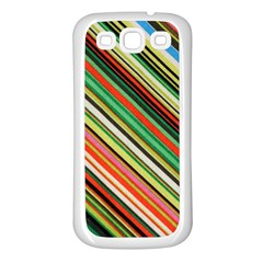 Colorful Stripe Background Samsung Galaxy S3 Back Case (White)