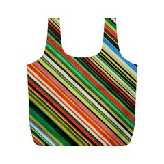 Colorful Stripe Background Full Print Recycle Bags (M)