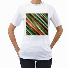 Colorful Stripe Background Women s T-Shirt (White)