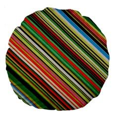 Colorful Stripe Background Large 18  Premium Flano Round Cushions