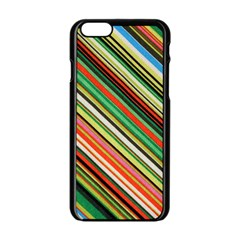 Colorful Stripe Background Apple Iphone 6/6s Black Enamel Case