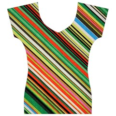Colorful Stripe Background Women s V-Neck Cap Sleeve Top