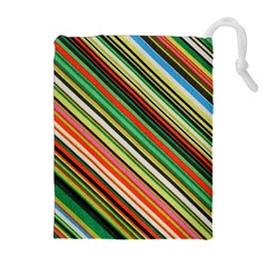 Colorful Stripe Background Drawstring Pouches (Extra Large)