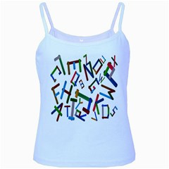Colorful Letters From Wood Ice Cream Stick Isolated On White Background Baby Blue Spaghetti Tank