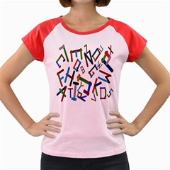 Colorful Letters From Wood Ice Cream Stick Isolated On White Background Women s Cap Sleeve T-Shirt