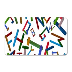 Colorful Letters From Wood Ice Cream Stick Isolated On White Background Magnet (rectangular)