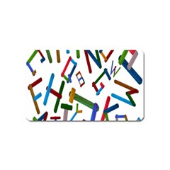 Colorful Letters From Wood Ice Cream Stick Isolated On White Background Magnet (name Card)