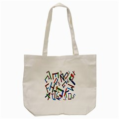 Colorful Letters From Wood Ice Cream Stick Isolated On White Background Tote Bag (cream)