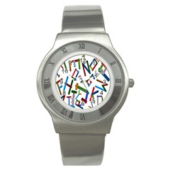 Colorful Letters From Wood Ice Cream Stick Isolated On White Background Stainless Steel Watch