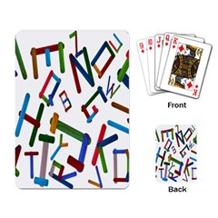 Colorful Letters From Wood Ice Cream Stick Isolated On White Background Playing Card