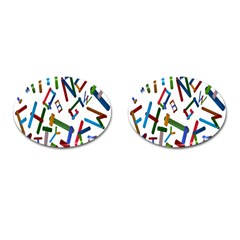 Colorful Letters From Wood Ice Cream Stick Isolated On White Background Cufflinks (oval)