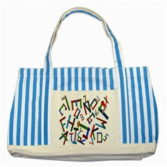 Colorful Letters From Wood Ice Cream Stick Isolated On White Background Striped Blue Tote Bag