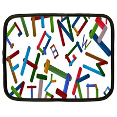 Colorful Letters From Wood Ice Cream Stick Isolated On White Background Netbook Case (xxl)