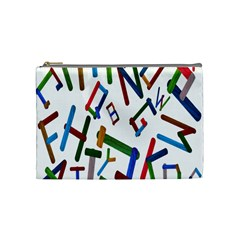 Colorful Letters From Wood Ice Cream Stick Isolated On White Background Cosmetic Bag (medium)