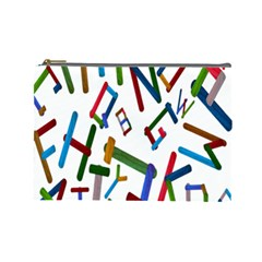 Colorful Letters From Wood Ice Cream Stick Isolated On White Background Cosmetic Bag (large)