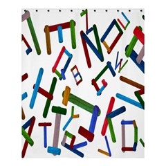 Colorful Letters From Wood Ice Cream Stick Isolated On White Background Shower Curtain 60  X 72  (medium)