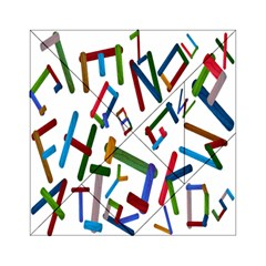 Colorful Letters From Wood Ice Cream Stick Isolated On White Background Acrylic Tangram Puzzle (6  x 6 )