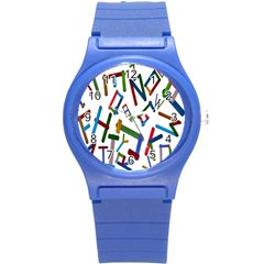 Colorful Letters From Wood Ice Cream Stick Isolated On White Background Round Plastic Sport Watch (S)