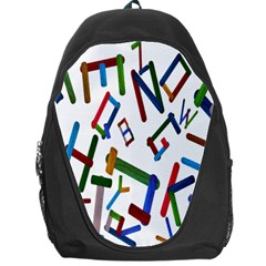 Colorful Letters From Wood Ice Cream Stick Isolated On White Background Backpack Bag
