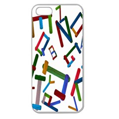 Colorful Letters From Wood Ice Cream Stick Isolated On White Background Apple Seamless iPhone 5 Case (Clear)