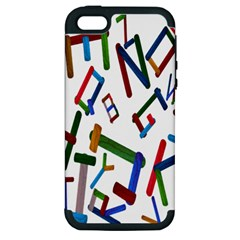 Colorful Letters From Wood Ice Cream Stick Isolated On White Background Apple Iphone 5 Hardshell Case (pc+silicone)